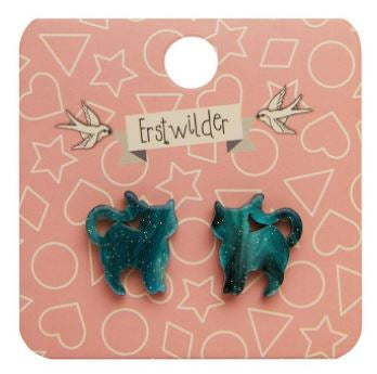 Erstwilder HWE Pussy Cat Ripple Glitter Stud Earrings Green