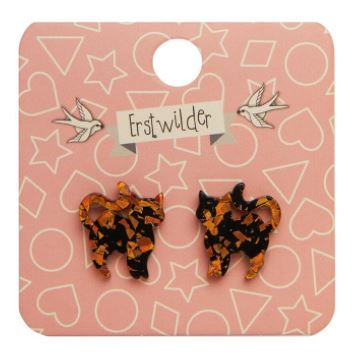 Erstwilder HWE Pussy Cat Chunky Glitter Stud Earrings Orange