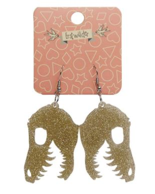 Erstwilder Dino Fossil Glitter Gold Earrings
