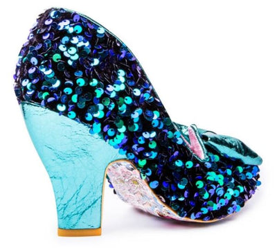 Irregular Choice Party Nick Of Time Teal Sequins