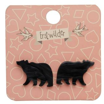 Erstwilder Woodland Bear Stud Earrings Black