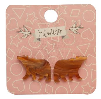 Erstwilder Woodland Bear Stud Earrings Brown