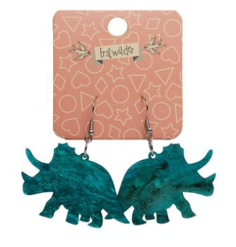Erstwilder Dino Triceratops Ripple Glitter Emerald Earrings