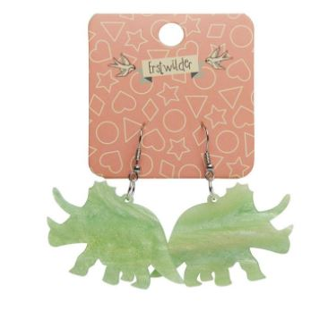 Erstwilder Dino Triceratops Ripple Glitter Lime Earrings