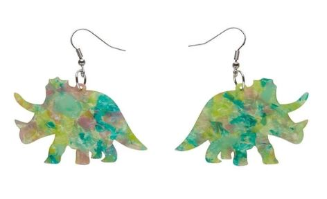 Erstwilder Dino Triceratops Mottled Green Earrings