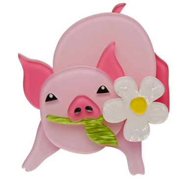Erstwilder Easter Wilbur the Wonder Pig Brooch