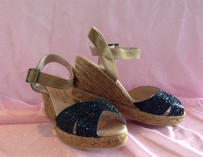Gaimo Cury Black Glitter & Nude Suede Wedge