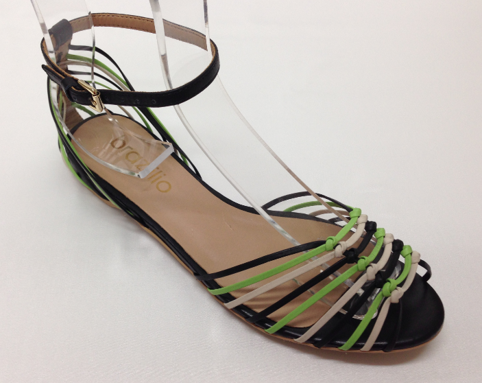 Brazilio Black Multi Strappy Sandal with ankle strap