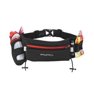 Fitletic Black and Red Fully Loaded Running Belt