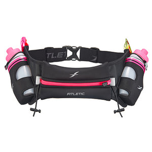 Fitletic Black and Pink Hydra 16oz Running Belt