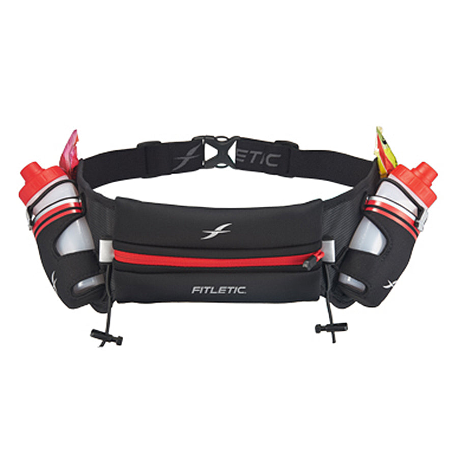Fitletic Black and Red Hydra 16oz Running Belt