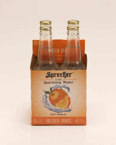 A 4 pack of Sprecher's Orange sparkling water.