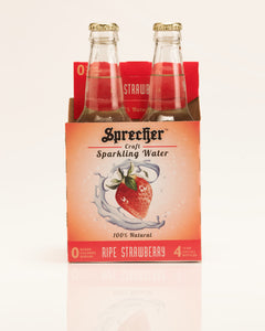 A 4-pack of Sprecher ripe strawberry sparkling water.