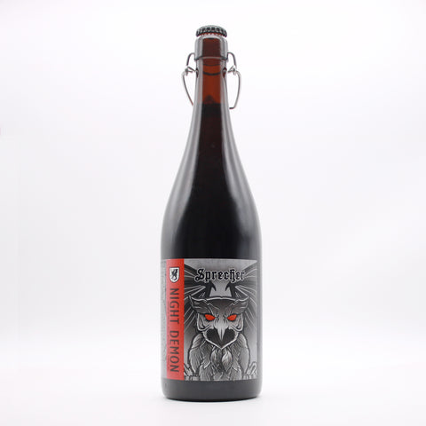 A 1-liter bottle of Sprecher's barrel aged night demon brew