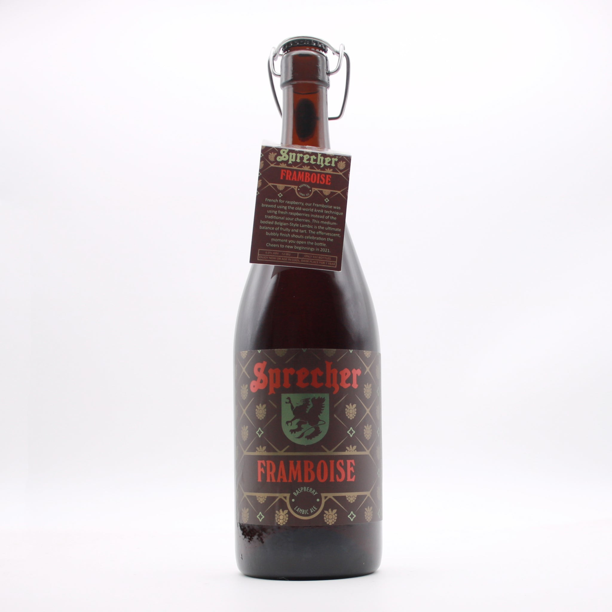 A 1-Liter bottle of Sprecher's Framboise.