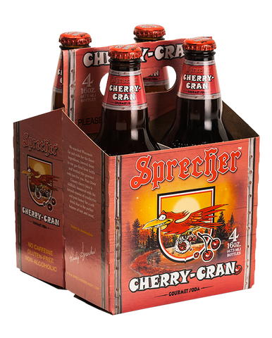 A 4-pack of Sprecher's cherry cran soda.