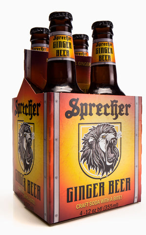 A 4-pack of Sprecher Ginger Beer.