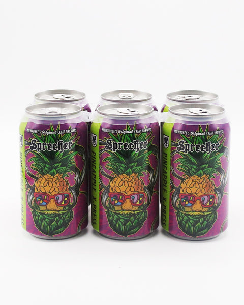 A 6-pack of Sprecher Pineapple X-Press Cans.