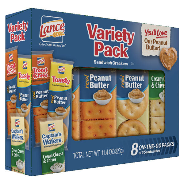 Lance Toast Chee Sandwich Crackers Variety Pack, 8 Ct - Water Butlers