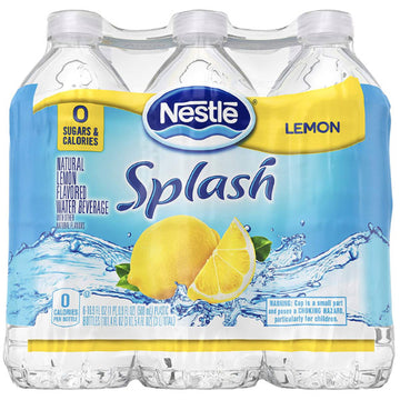 Nestle Splash Lemon Flavored Water, 16.9 Fl. Oz. 6 Ct