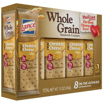 Lance Whole Grain Cheddar Cheese Sandwich Crackers, 8 Ct