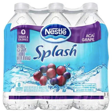 Nestle Splash Acai Grape Flavored Water, 16.9 Fl. Oz. 6 Count