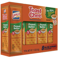 Lance Reduced Fat ToastChee Peanut Butter Sandwich Crackers, 8 Ct - Water Butlers