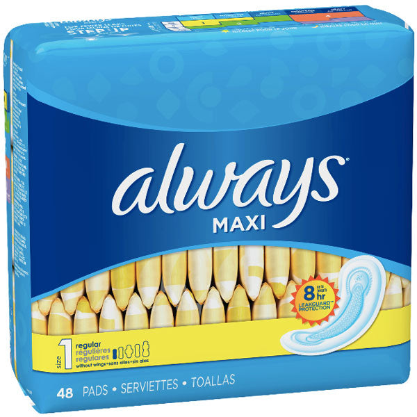 Always Maxi, Size 1, Regular Pads Wingless, 48 Ct - Water Butlers