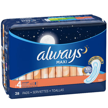 Always Maxi, Size 4, Overnight Pads Wingless, 28 Ct