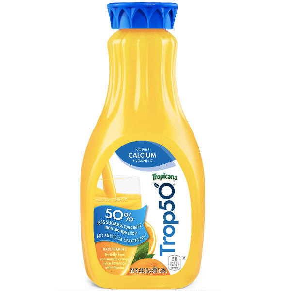 Tropicana Trop 50 No Pulp with Calcium Orange Juice, 52 oz - Water Butlers