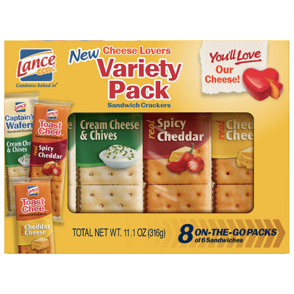 Lance Cheese Lovers Variety Pack Sandwich Crackers, 8 Ct - Water Butlers