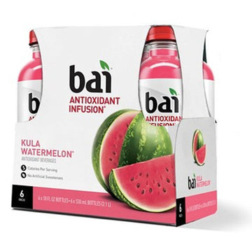 Bai Flavored Water, Kula Watermelon, 18 Fl oz. Bottles, 6 Ct
