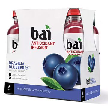Bai Flavored Water Brasilia Blueberry, 18 Fl oz. Bottles, 6 Ct