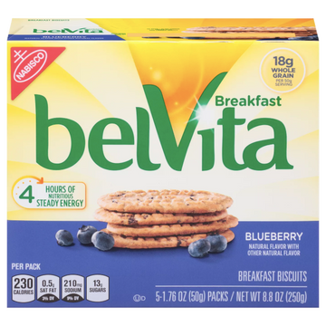 BelVita Breakfast Biscuits, Blueberry, 5 Ct