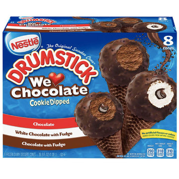 Nestle We Love Chocolate Cookie Dipped Drumstick - 8 Ct