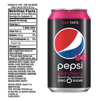 Pepsi 0 Wild Cherry 12 fl oz, 12 Pack - Water Butlers