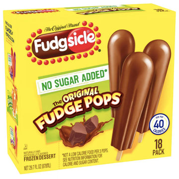 Fudgsicle No Sugar Added Frozen Pops - 18 Ct