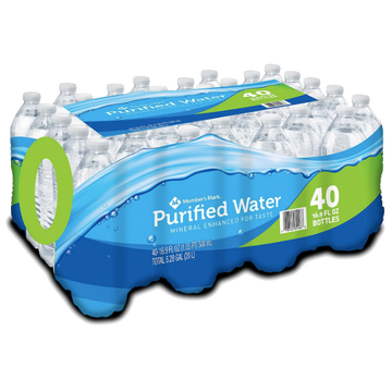 Member's Mark Purified Water 16.9oz, 40 Ct