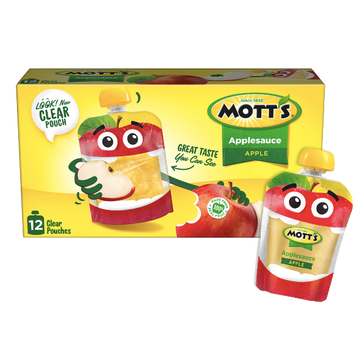 Mott's Applesauce Clear pouches, Apple, 12 Ct