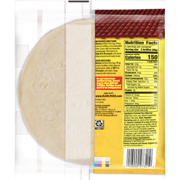 Old El Paso Flour Tortilla, For Soft Tacos, 10 Count - Water Butlers