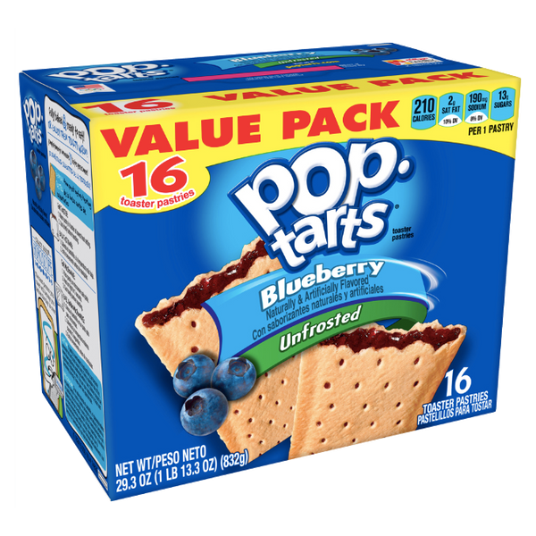 Pop Tarts Unfrosted Blueberry, 16 Ct - Water Butlers