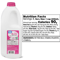 Great Value 0% Skim Milk Half Gallon - Water Butlers