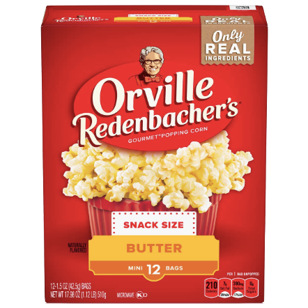 Orville Redenbachers Butter Popcorn, 12 Ct - Water Butlers