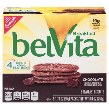 BelVita Breakfast Biscuits, Chocolate, 5 Ct