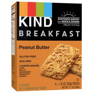 KIND Breakfast Probiotic Bars, Peanut Butter, 8Ct