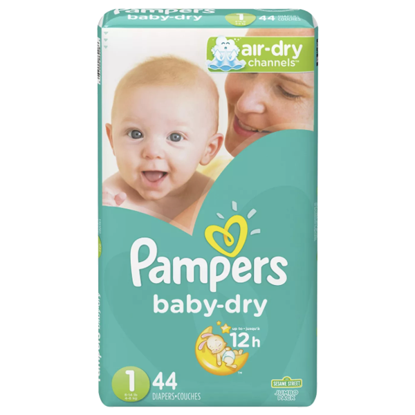 Pampers Baby Dry, Size 1 (44 Count) - Water Butlers