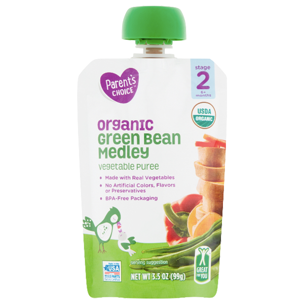 Parent's Choice Organic Puree, Green Bean Medley, 3.5 oz - Water Butlers