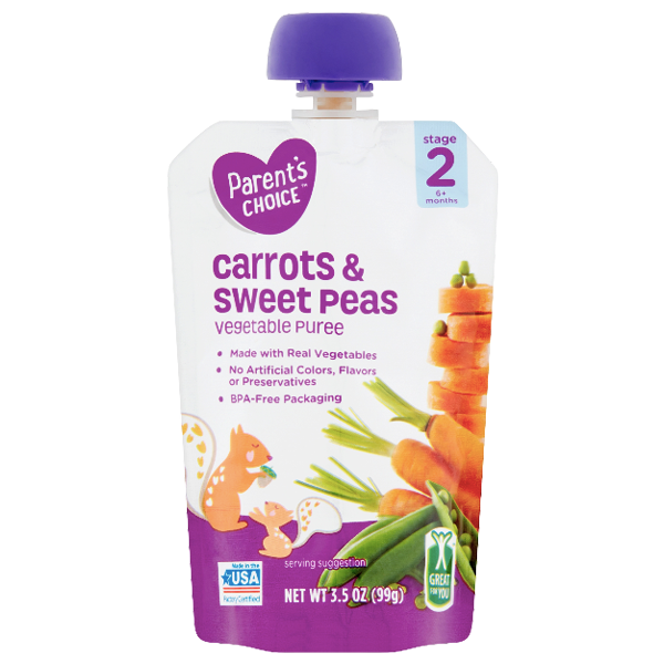 Parent's Choice Puree, Carrots & Sweet Peas, 3.5 oz - Water Butlers
