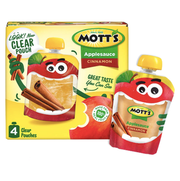 Mott's Applesauce Clear pouches, Cinnamon, 4 Ct