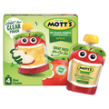 Mott's Applesauce Clear pouches, No Sugar Added, Apple 4 Ct